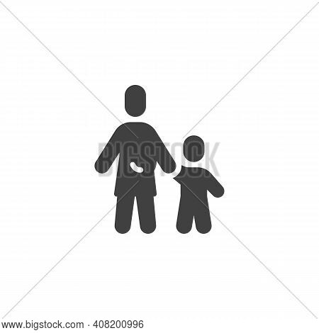Mother And Child Holds Hands Vector Icon. Filled Flat Sign For Mobile Concept And Web Design. Mum An