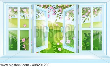 Spring Open House Window Frame Vector View, Green Summer Blossom Landscape, Hills, Flowers, Sakura B