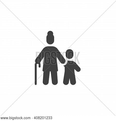 Grandmother With Grandson Vector Icon. Filled Flat Sign For Mobile Concept And Web Design. Grandma A