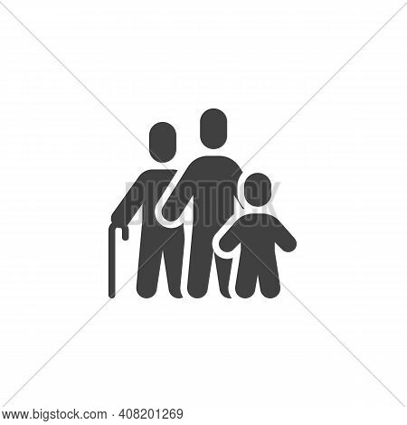 Grandfather With Son And Grandson Vector Icon. Filled Flat Sign For Mobile Concept And Web Design. F