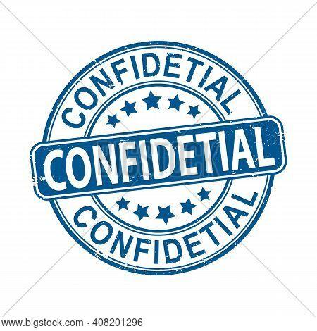 Confidential Blue Sign. Confidential Blue Circular Band Sticker