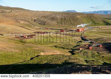 Geothermal Power Station In Iceland. Generation Of Ecologically Clean Renewable Energy.