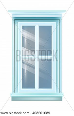 Closed Retro House Blue Window Exterior Vintage View With Sill, Isolated On White Background. Archit