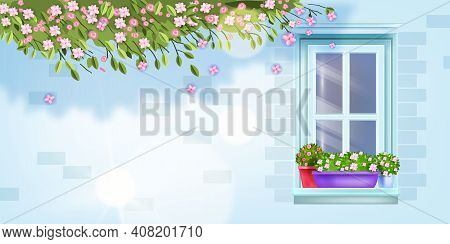 House Window Frame Vector Floral Spring Background, Summer Blossom Brick Wall Front View, Sill, Flow