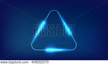 Neon Rounded Triangle Frame With Shining Effects On Dark Background. Empty Glowing Techno Backdrop.