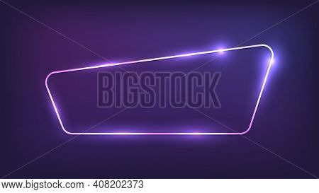 Neon Rounded Frame With Shining Effects On Dark Background. Empty Glowing Techno Backdrop. Vector Il