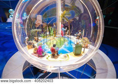 Dubai, Uae - 02.13.2021 Inside One Of The Halls Of A Sustainability Pavilion Of Expo 2020