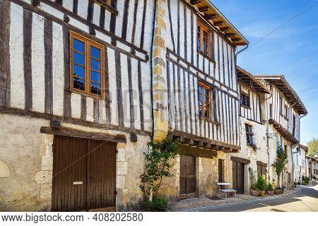 Street With Historical Houses In Saint-jean-de-cole, Dordogne Departement, France