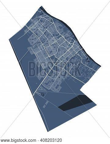 Basra Map. Detailed Vector Map Of Basra City Administrative Area. Cityscape Poster Metropolitan Aria