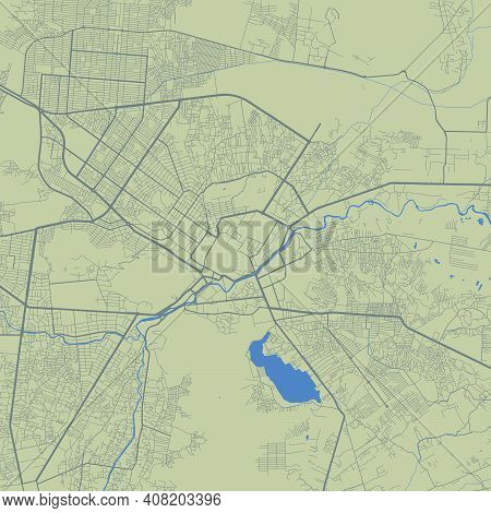Detailed Map Of Kabul City Administrative Area. Royalty Free Vector Illustration. Cityscape Panorama