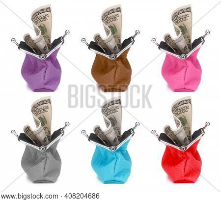 cash wallet collection isolated over white background. Set of different colour Charge purse. Colourful  coin wallet..