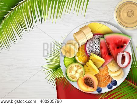 Assorted Tropical Fruits Slices Plate Realistic Top View With Banana Lychee Lime Pineapple Peach Pap