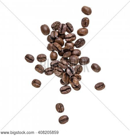Coffee beans isolated over white background. Top view. Flat lay. Coffee beans flow in air, without shadow.
