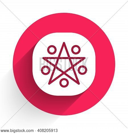 White Pentagram In A Circle Icon Isolated With Long Shadow. Magic Occult Star Symbol. Red Circle But
