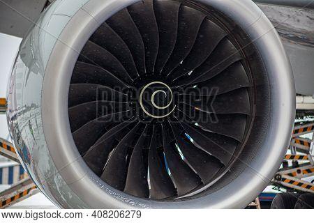 Airplane Turbine. Snowing. Engine Blades Propeller. Aaircraft Jet Engine. Close Up. Aviation Technol