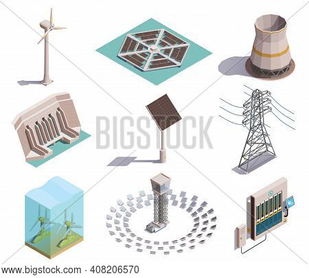 Green Energy Production Isometric Icons Set With Wind Tidal Power Generators Solar Station Hydroelec