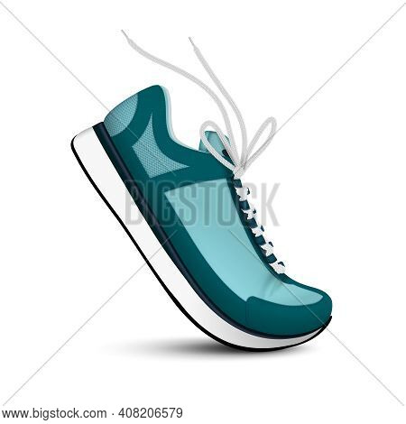 Modern Sport Sneakers Of Blue Color With White Shoelaces Realistic Single Image On White Background