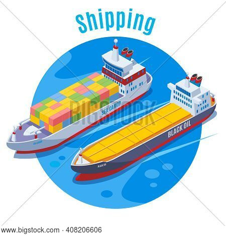 Round Seaport Isometric Background With Two Logistic Ship On Blue Fond And Big Headline Shipping Vec