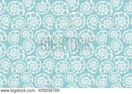 Seashell Beach Summer Blue Pattern. Vector Seamless Background. Simple Elegant Ocean Sea Shell Fabri