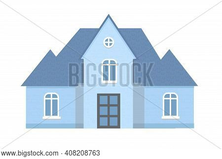 Blue Light Cottage Facade, City Or Country Street Building With White Windows. Modern Residential Pr
