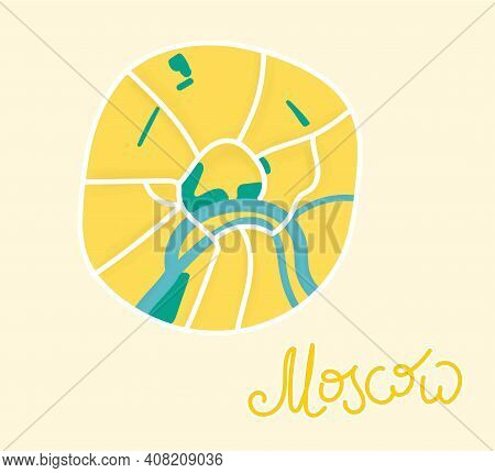 Cartoon Flat Map Of The Center Of Moscow. River Is Dark Green, The Land Is Yellow. Funny Cute Europe