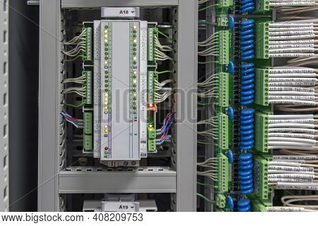 Production Equipment Control Controller. Control Panel With Sensors And Wiring For Automatic Control
