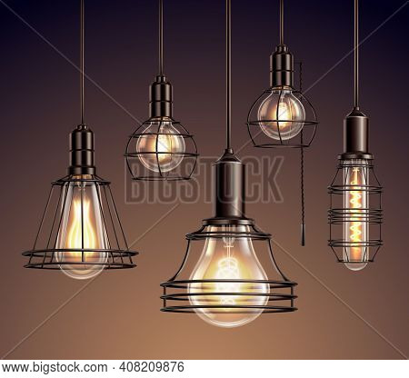 Loft Edison Vintage Metal Wire Frame Hanging  Lamps With Soft Glowing Light Bulbs Realistic Set Vect