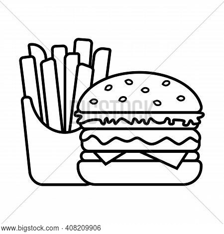 Burger And French Fries In Box, Icon Is Black And White, Isolated On White Background. Simple Fast F