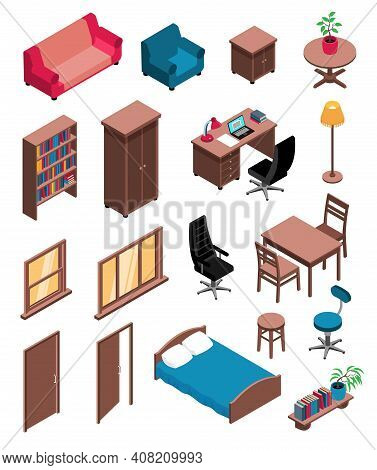 Private Interior Items Isometric Icons Set With Sofa Table Dresser Chair Desk Floor Lamp Vector Illu