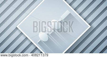 Paper Cut Olive And Cheese On Chopstick Icon Isolated On Grey Background. Canape, Tapas With Cheese