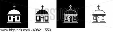 Set Santorini Building Icon Isolated On Black And White Background. Traditional Greek White Houses W