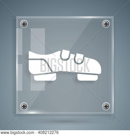 White Triathlon Cycling Shoes Icon Isolated On Grey Background. Sport Shoes, Bicycle Shoes. Square G