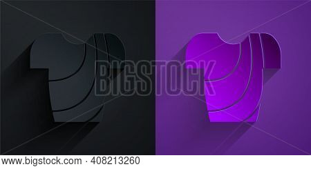 Paper Cut Cycling T-shirt Icon Isolated On Black On Purple Background. Cycling Jersey. Bicycle Appar