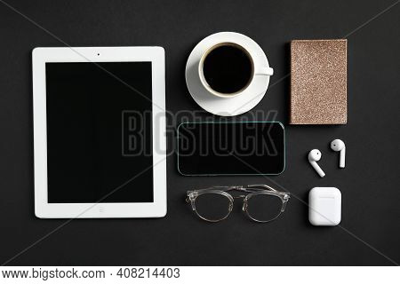 Mykolaiv, Ukraine - July 9, 2020: Flat Lay Composition With Iphone 11, Ipad Tablet And Airpods On Bl