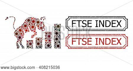 Collage Bullish Market Chart United From Covid Elements, And Grunge Ftse Index Rectangle Seals With