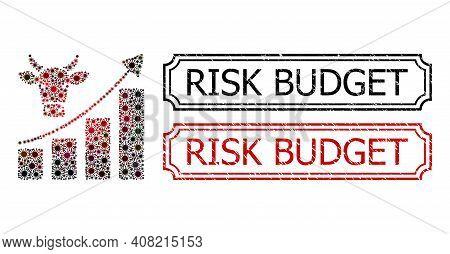 Collage Bullish Market Trend Composed Of Flu Virus Icons, And Grunge Risk Budget Rectangle Badges Wi