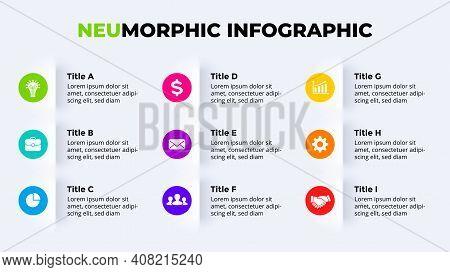 Neumorphic Vector Infographic. Presentation Slide Template. Neumorphism Ui Design. 9 Options.