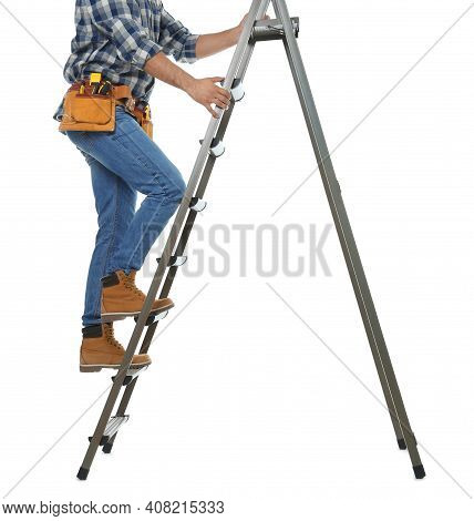 Professional Builder Climbing Up Metal Ladder On White Background, Closeup