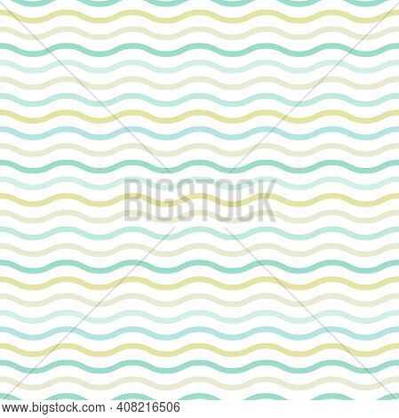 Wavy Lines. Seamless Texture With Blue And Green Waves On White Background. Vector Illustration. Mar