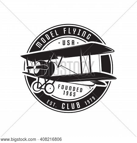 Model Flying Club Emblem Logo Template. Vintage Silhouette Label With Retro Biplane. Stock Vector Is