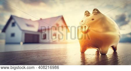 Piggybank and new house, saving for home, mortgage. Golden piggy bank. 3D illustration