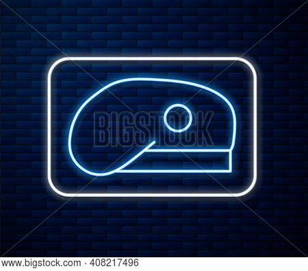 Glowing Neon Line Military Beret Icon Isolated On Brick Wall Background. Soldiers Cap. Army Hat. War