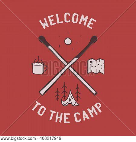 Vintage Camping Adventure Logo Emblem Illustration Design. Outdoor Label With Tent, Mug, Matches And