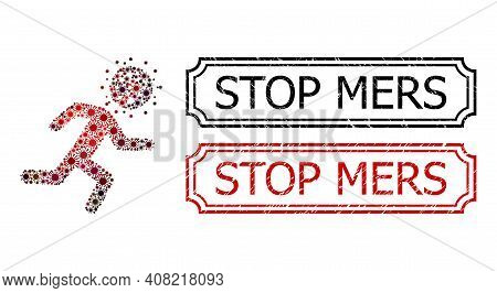 Collage Running Covid Man Constructed From Sars Virus Elements, And Grunge Stop Mers Rectangle Seal