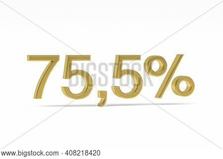 Gold Digit Seventy-five Point Five With Percent Sign - 75,5% Isolated On White - 3d Render
