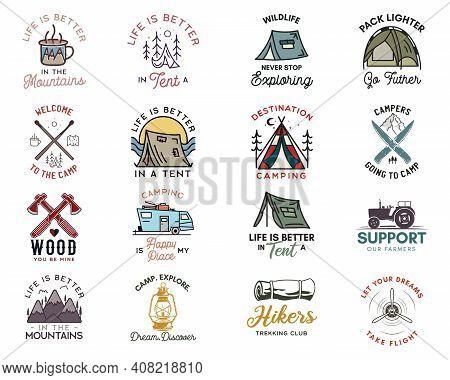 Camping Adventure Badges Logos Set, Vintage Travel Emblems. Hand Drawn Line Art Stickers Designs Big