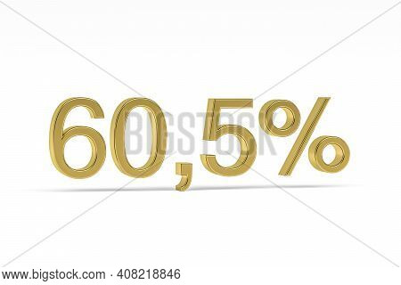 Gold Digit Sixty Point Five With Percent Sign - 60,5% Isolated On White - 3d Render