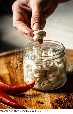 Cheese Production Process, Homemade Cheese Producer, Handmade Cheese Pieces With Herbs And Spices In