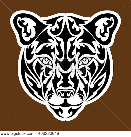 Hand Drawn Abstract Portrait Of A Puma. Sticker. Vector Stylized Illustration Isolated On Brown Back