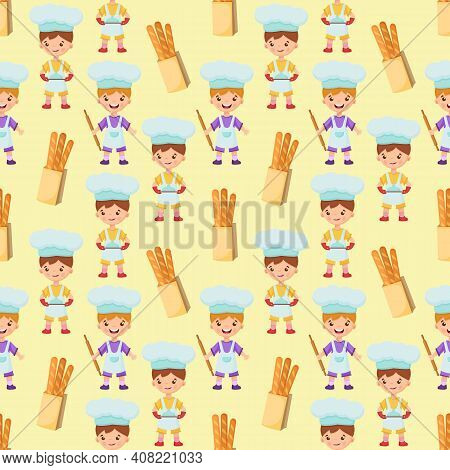 Boys Bakers Are Holding A Rolling Pin And A Tray With A Dish. Baguette Paper Bag. Seamless Pattern W